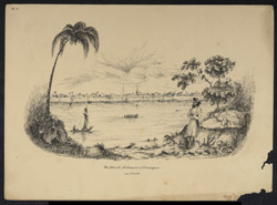 Serampore from across the Hooghly showing the Danish government buildings, and the church, built in 1805. Worked up from an earlier sketch of December 1838